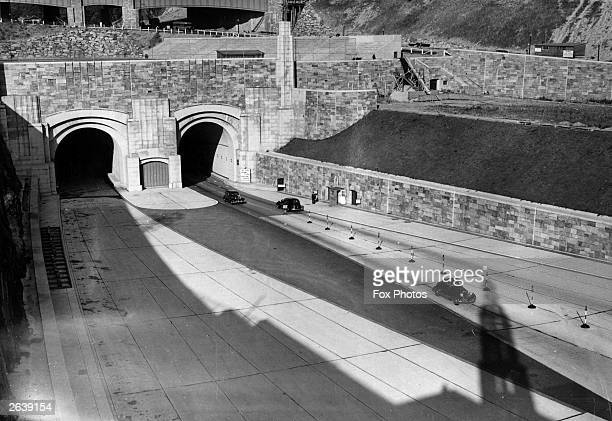 The New Jersey entrance to the Lincoln Tunnel under the Hudson River which connects 39th street Manhattan to Weehawken New Jersey