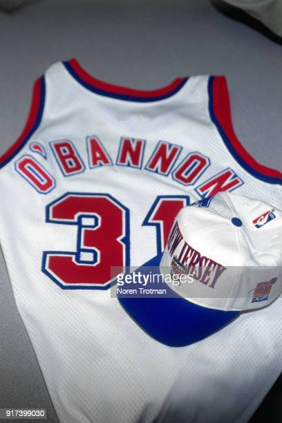 The New Jersey Nets introduce there new draftee Ed O'Bannon at a press conference on June 29 1995 in East Rutherford New Jersey NOTE TO USER User...