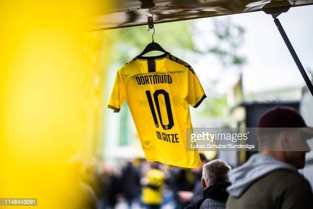 The new jersey of Dortmund is seen prior to the Bundesliga match between Borussia Dortmund and Fortuna Düsseldorf at Signal Iduna Park on May 11,...