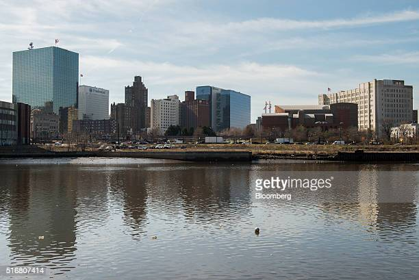 The New Jersey Performing Arts Center second right and the Prudential Financial Inc building second left are seen in the skyline of Newark New Jersey...