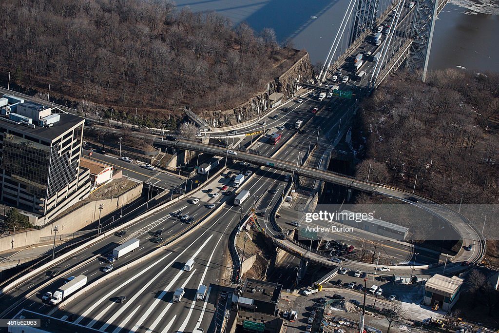 The New Jersey side of the George Washington Bridge, which connects Fort Lee, NJ, and New York City, is seen on January 9, 2014 in Fort Lee, New Jersey. New Jersey Governor Chris Christie is currently caught in a political scandal, in which one of his aides ordered The Port Authority of New York and New Jersey to purposely cause traffic jams at the on-ramps to the George Washington Bridge in Fort Lee, NJ, due to political disagreements between Governor Christie and the mayor of Fort Lee. Christie claims he had no knowledge of issue and has since fired the aide.