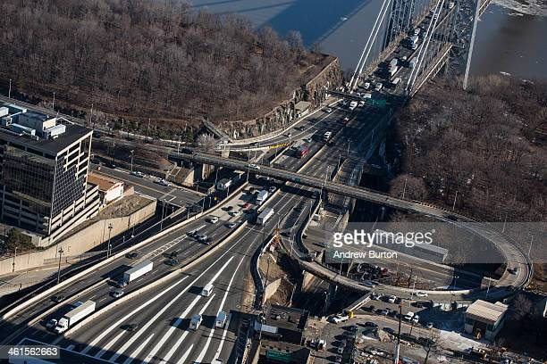 The New Jersey side of the George Washington Bridge which connects Fort Lee NJ and New York City is seen on January 9 2014 in Fort Lee New Jersey New...