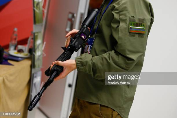 The new Kalashnikov AK-12 series rifle is seen during the 8th Moscow Conference on International Security in Moscow, Russia on April 24, 2019.