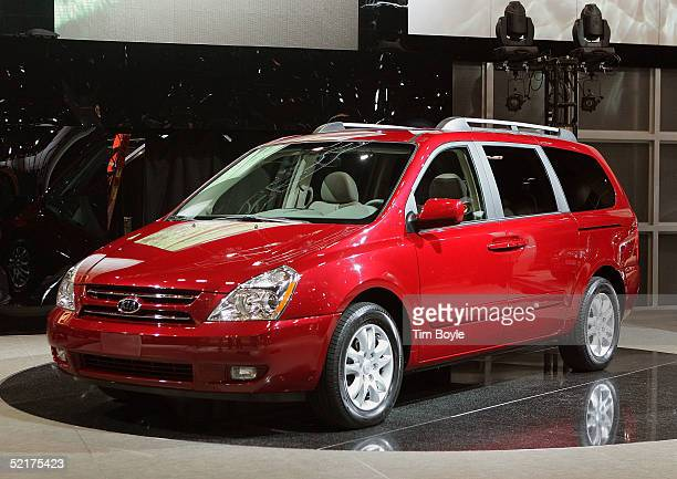 The new Kia Sedona minivan is displayed at the 2005 Chicago Auto Show February 10 2005 in Chicago Illinois This is the 97th edition of the Chicago...