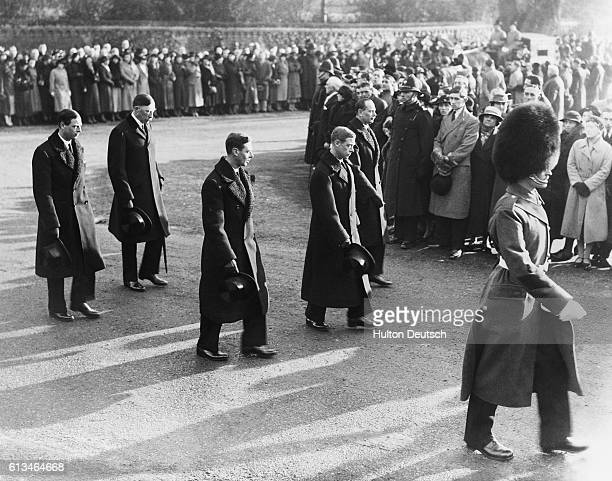The new King Edward VIII of England takes part in the funeral procession of his late father King George V of England accompanied by his brothers the...