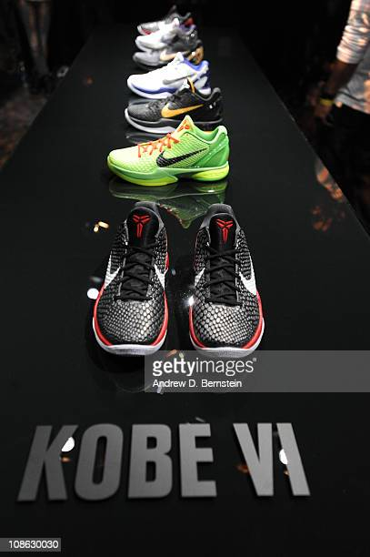 The New Kobe 6 Black Mamba collection of sneakers are shown during the Nike Event on January 30 2011 in Los Angeles California NOTE TO USER User...
