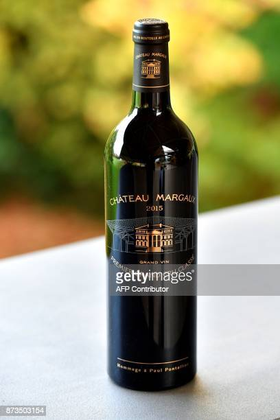 The new label of the 2015 vintage of French wine estate's Chateau Margaux is pictured in Margaux on November 13 2017 / AFP PHOTO / GEORGES GOBET