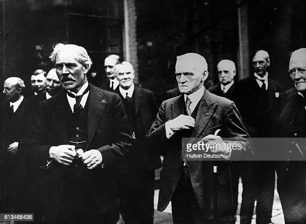 The new Labour Prime Minister Ramsay Macdonald with his Chancellor of the Exchequer Phillip Snowdon on the terrace of 10 Downing Street before a...