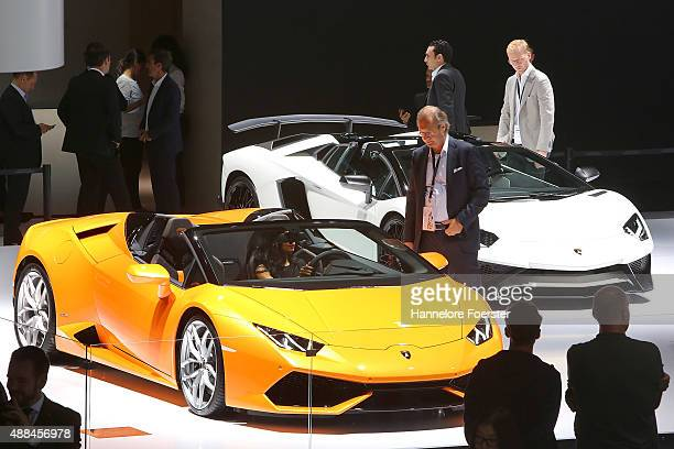 The new Lamborghini Huracan Spider stands at the Lamborghini stand at the 2015 IAA Frankfurt Auto Show during a press day on September 16 2015 in...