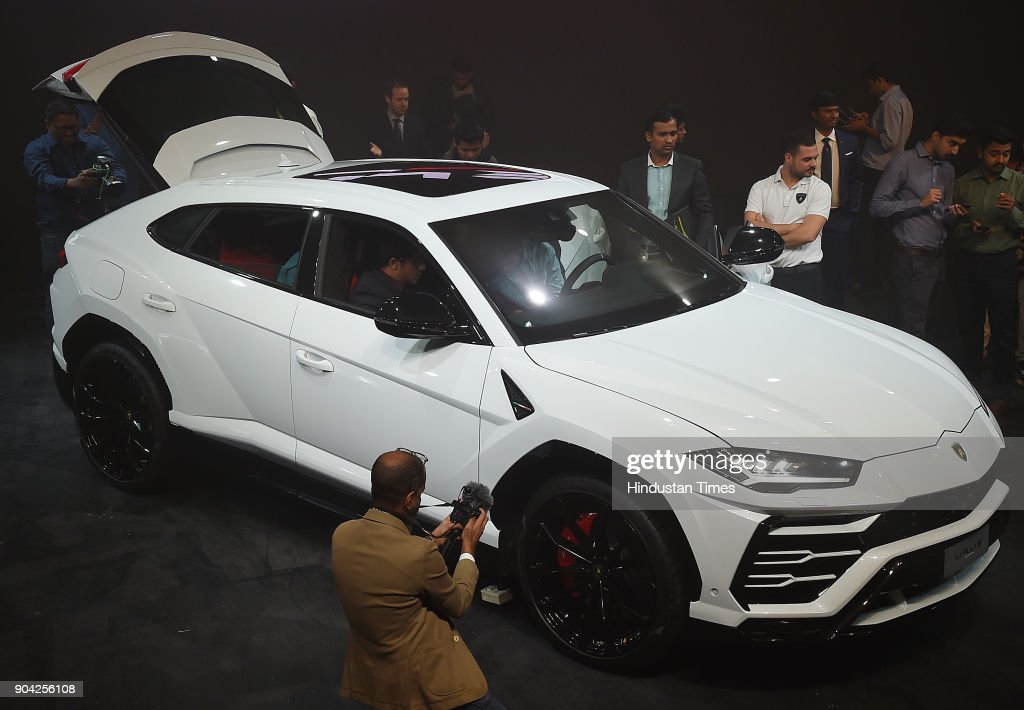 The New Lamborghini Urus the world's super sport utility vehicle Launch at Famous Studio Mahalaxmi on January 11, 2018 in Mumbai, India. In a little over a month after its global unveil, Lamborghini has now launched the Urus in India at Rs 3 crore (ex-showroom), making it the new entry point to the brand.