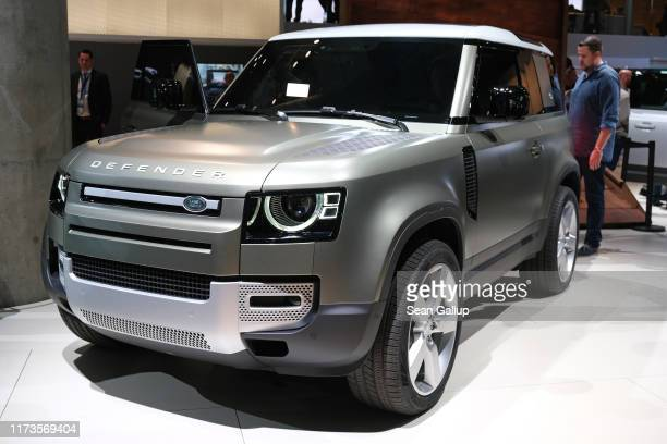 The new Land Rover Defender stands on display at the 2019 IAA Frankfurt Auto Show on September 10 2019 in Frankfurt am Main Germany The IAA will be...