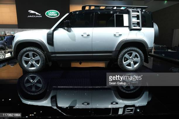 The new Land Rover Defender stands on display at the 2019 IAA Frankfurt Auto Show on September 10, 2019 in Frankfurt am Main, Germany. The IAA will...