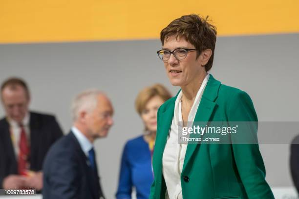 The new leader of the German Christian Democrats Annegret KrampKarrenbauer attends the federal congress of the CDU on December 8 2018 in Hamburg...