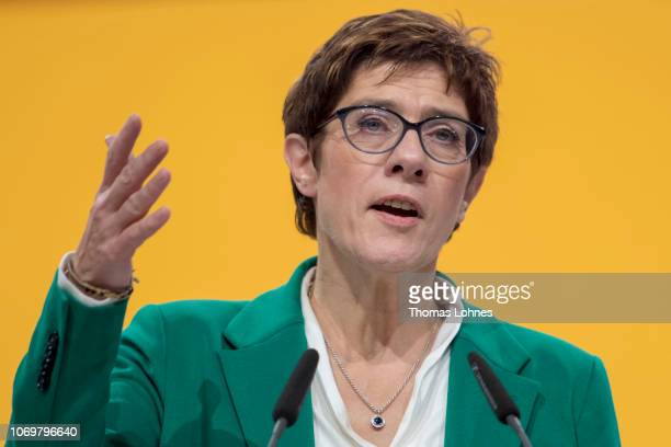 The new leader of the German Christian Democrats Annegret KrampKarrenbauer closes the CDU federal congress on December 8 2018 in Hamburg...