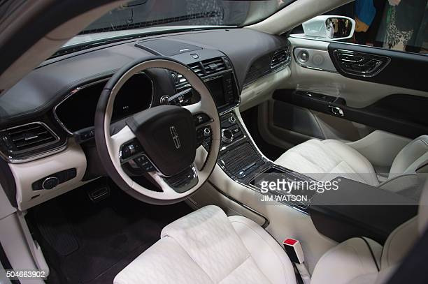 The new Lincoln Continental is unveiled during the Lincoln press conference at the North American International Auto Show in Detroit Michigan January...
