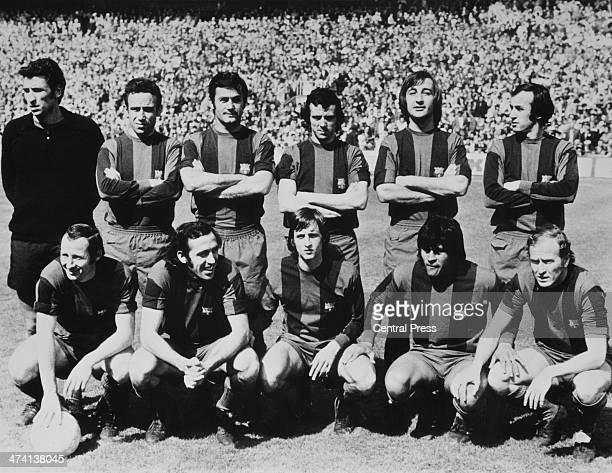 The new line up of the FC Barcelona football team 2nd May 1974 Standing left to right goalkeeper Salvador Sadurni Joaquim Rife Antoni Torres Antonio...