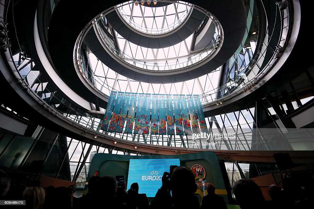 The new logo for the individual cities hosting matches for the UEFA EURO 2020 tournament are unveiled during the UEFA EURO 2020 launch event for London at City Hall on September 21, 2016 in London, England.
