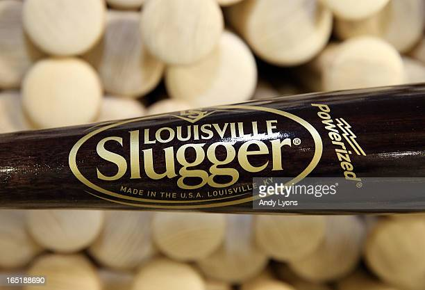 The new logo for the Louisville Slugger bat is on display on a bat inside the Louisville Slugger Museum and Plant on April 1 2013 in Louisville...