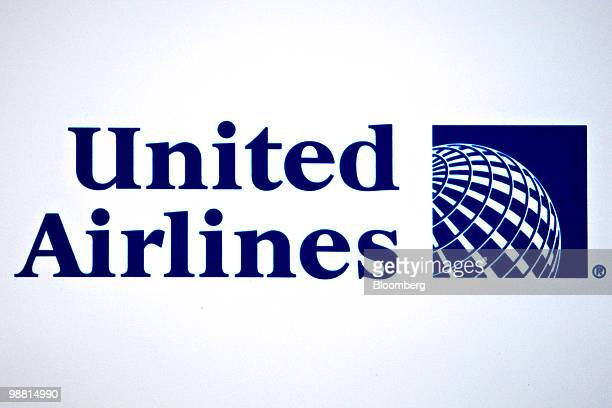 The new logo for United Airlines which includes the Continental symbol sits on display during a news conference regarding the merger between the...