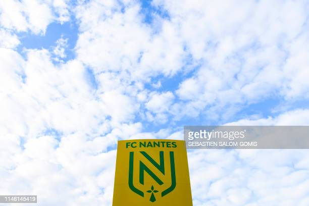 The new logo of FC Nantes is pictured prior to the French L1 football match between FC Nantes and Strasbourg at the La Beaujoire stadium in Nantes on...