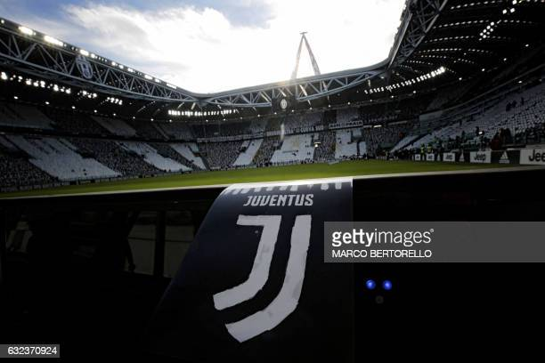 The new logo of Juventus football club is pictured on a flyer before the Italian Serie A football match Juventus vs Lazio on January 22 2017 at the...