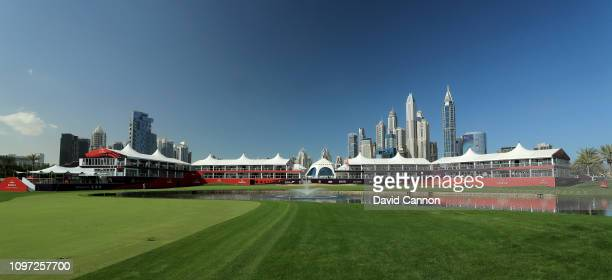 The new look ninth and eighteenth greens complex with the clubhouse in the centre on the Majlis Course at the Emirates Golf Club as a preview for the...
