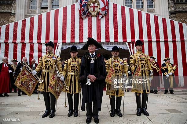 The new Lord Mayor of London Alan Yarrow poses for a photograph outside the Guildhall after The Silent Ceremony at The Guildhall on November 7, 2014...