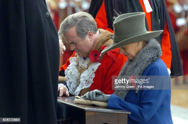 The new Lord Mayor of London David Brewer and his wife Tessa receive blessings on the steps of St Paul's Cathedral during the Lord Mayor's Show in...