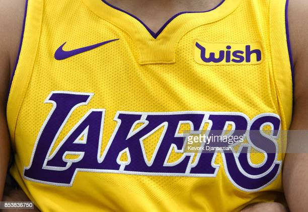 The new Los Angeles Lakers Nike jersey with the sponsor logo Wish on the left chest is seen during media day September 25 in El Segundo California...