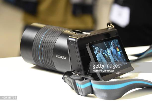 The new Lytro Illum camera is displayed during the press preview of the Photokina 2014 trade fair on September 15 2014 in Cologne Germany Photokina...