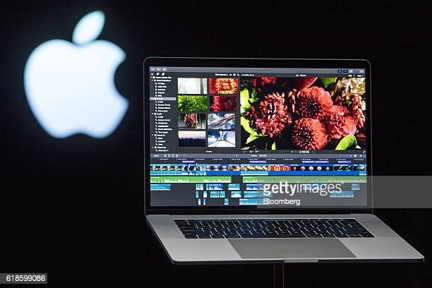 The new MacBook Pro laptop computer is displayed during an event at Apple Inc headquarters in Cupertino California US on Thursday Oct 27 2016 Apple...