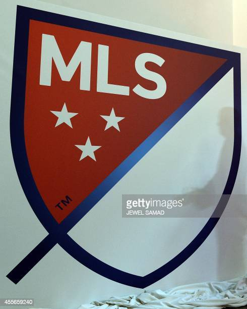 The new Major League Soccer logo is pictured during an unveiling event in New York on September 18, 2014. MLS unveiled the new logo ahead of its 20th...