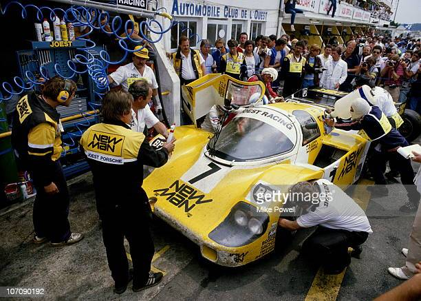 The New Man Joest Racing Porsche 956B driven by Paolo Barilla Klaus Ludwig and John Winter makes a pit stop during the World Endurance Championship...