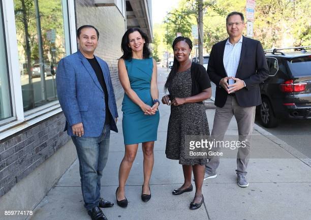 The new management team at Zemcar poses for a portrait in Cambridge MA on Oct 4 2017 From left are founder Bilal Khan CEO Juliette Kayyem Carecom...