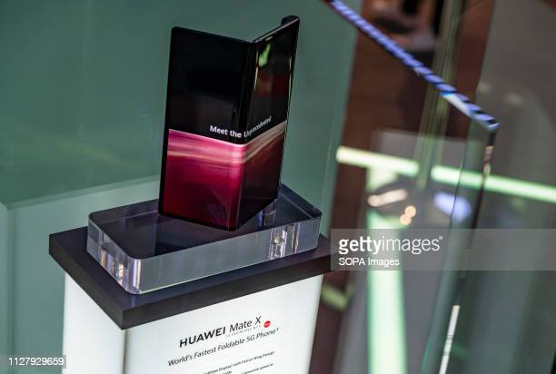The new Mate X smartphone with flexible Huawei display is seen during the MWC2019 The MWC2019 Mobile World Congress opens its doors to showcase the...