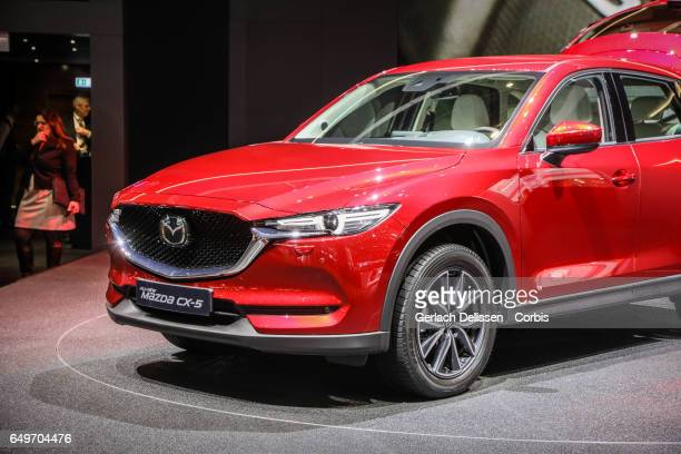The new Mazda CX5 on display during the second press day of the Geneva Motor Show 2017 at the Geneva Palexpo on March 8 2017 in Geneva Switzerland