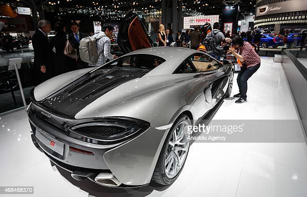The new McLaren 570s is displayed at the 2015 New York International Auto Show in New York USA on April 02 2015