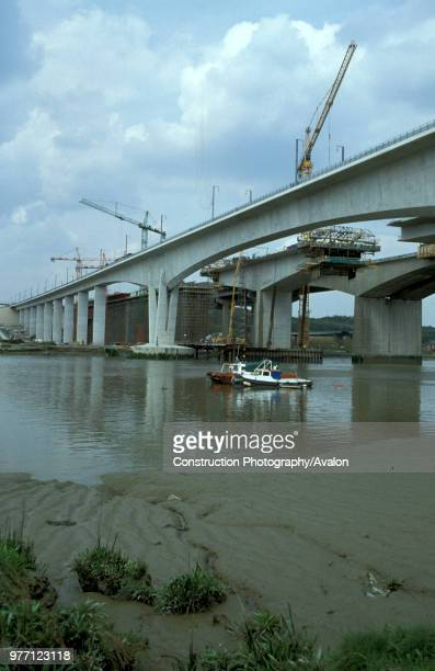The new Medway Bridge under construction on the Channel Tunnel Rail Link 2002 United Kingdom
