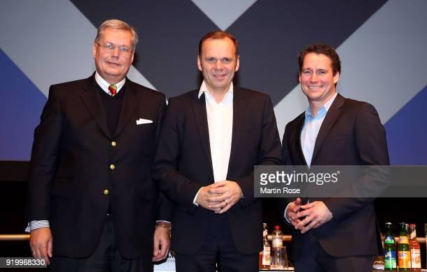 The new members of the board: Thomas Schulz, vicepresident, Bernd Hoffmann, president and Moritz Schaefer, finance director of Hamburg Sport Verein...