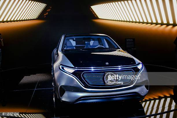 The new Mercedes-Benz Generation EQ concept sport-utility vehicle , sits on display during the second press day of the Paris Motor Show at Porte de...