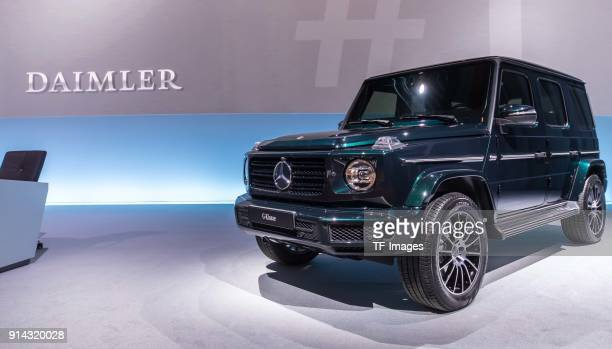 The new MercedesBenz Gmodel is seen at the annual results press conference of Daimler AG on February 01 2018 in Stuttgart Germany