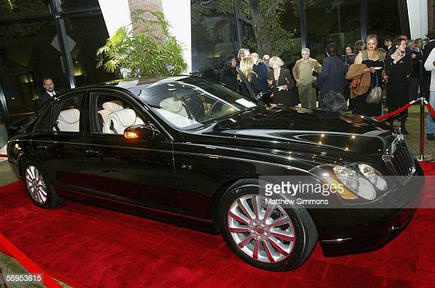 The new MercedesBenz Maybach 57S is unveiled at Mercedes Benz of Beverly Hills on October 18 2005 in Beverly Hills California The 605 HP V12...