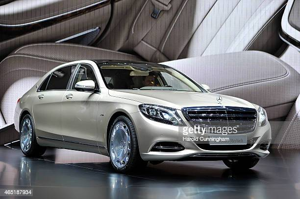 The new MercedesMaybach is shown during the 85th International Motor Show on March 3 2015 in Geneva Switzerland The 85th International Motor Show...