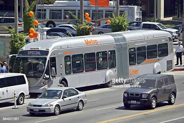 The new Metro Liner the latest in advanced bus design which is scheduled to go into service on the San Fernando Valley's Metro Orange Line opening...