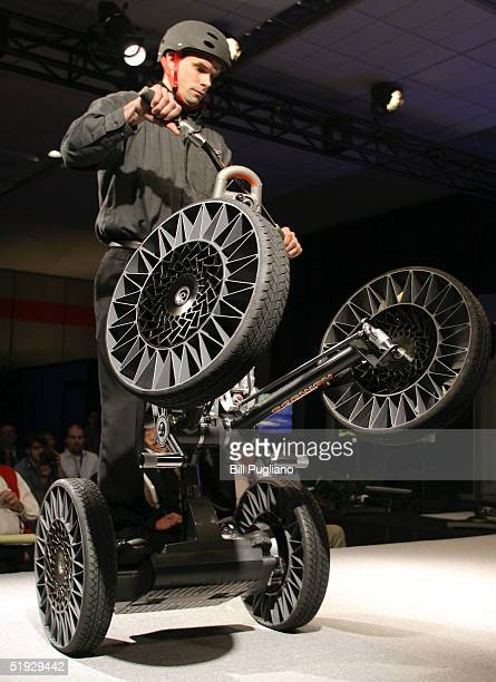 """The new Michelin """"Tweel"""" tires are displayed on the Segway Concept Centaur at the 2005 North American International Auto Show January 9, 2005 in..."""