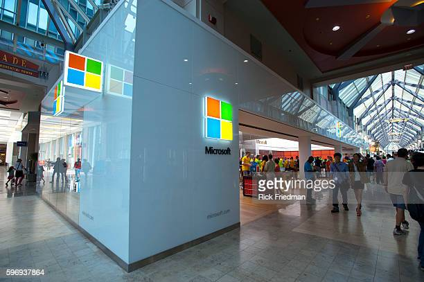 The new Microsoft Store in the Prudential Center Mall in Copley Square in Boston MA on August 25 2012 The Microsoft store is fashioned after the...