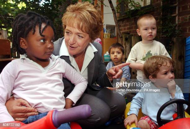 The new Minister for Children Margaret Hodge meets children at BromleybyBow children's centre in east London 24/01/04 A report by the TUC and the...