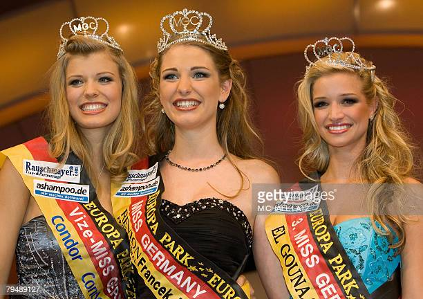 The new Miss Germany 2008 Kim Valerie Vogt from the western German town of Hanover poses for a photo with second place Anna Lena Freynhagen from...