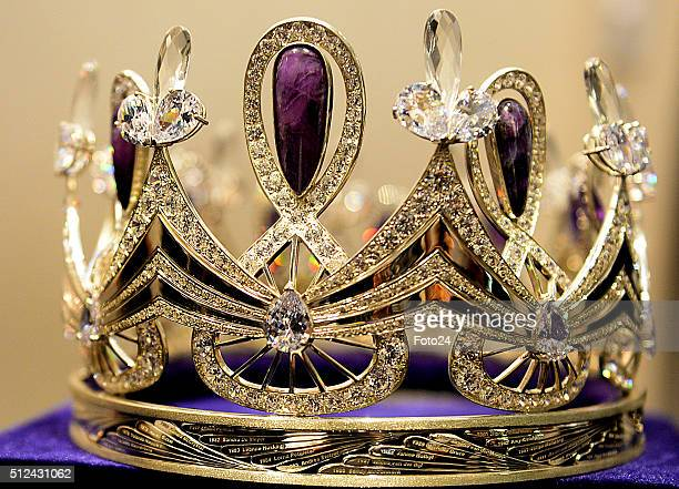 The new Miss South Africa crown Enhle on February 24 2016 in Johannesburg South Africa The crown made from silver was designed by Jack Friedman...