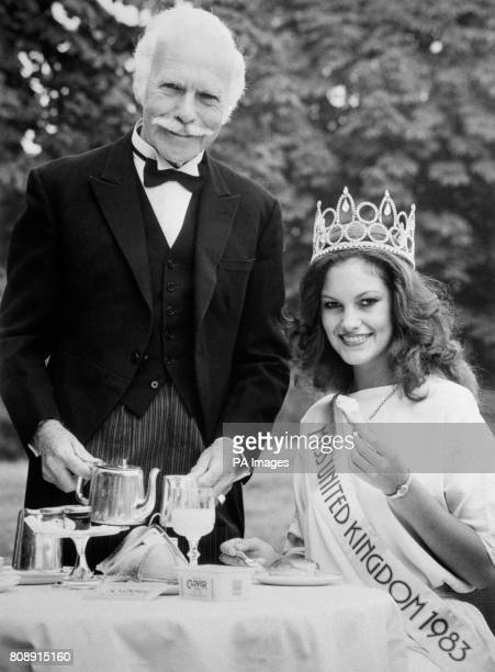 The new Miss United Kingdom, Sarah-Jane Hutt having breakfast in the park after winning the title of Miss UK. She is being served by Reginald Moore...